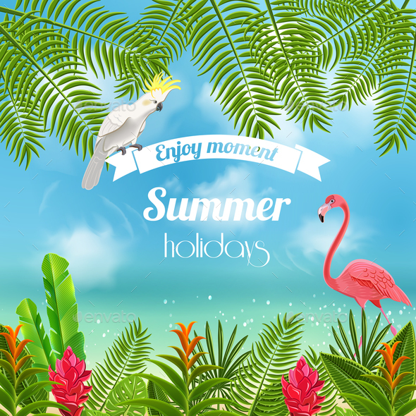 Enjoy tropical summer background by macrovector graphicriver enjoy tropical summer background backgrounds decorative voltagebd Images