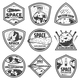 Vintage Monochrome Comets Labels Set - GraphicRiver Item for Sale