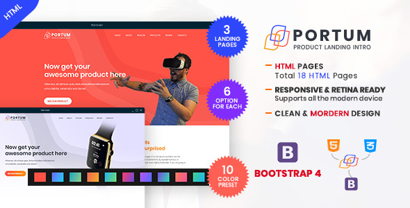 Image of Portum - Single Product Landing Intro Page HTML Template