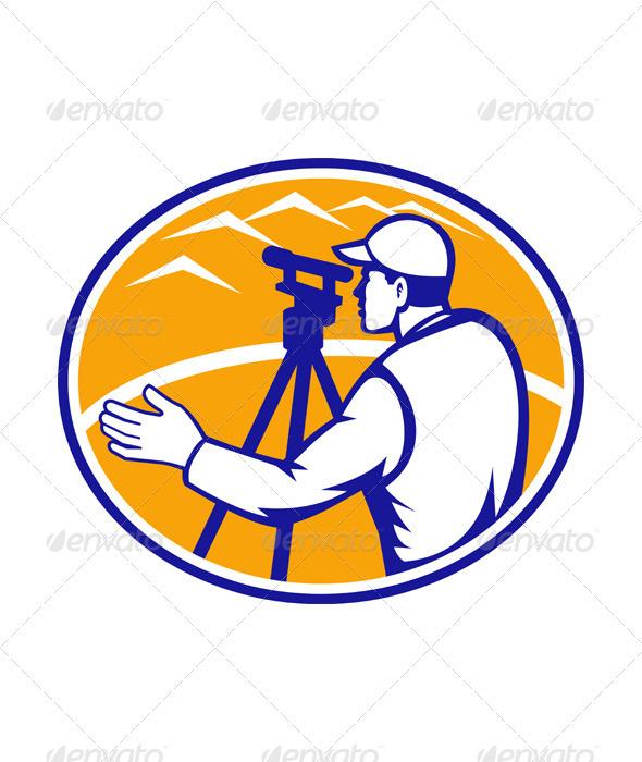 Surveyor Engineer Theodolite Total Station - People Characters