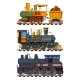 Illustrations of Retro Trains with Wagons - GraphicRiver Item for Sale