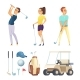 Sport Characters and Various Tools for Golf - GraphicRiver Item for Sale