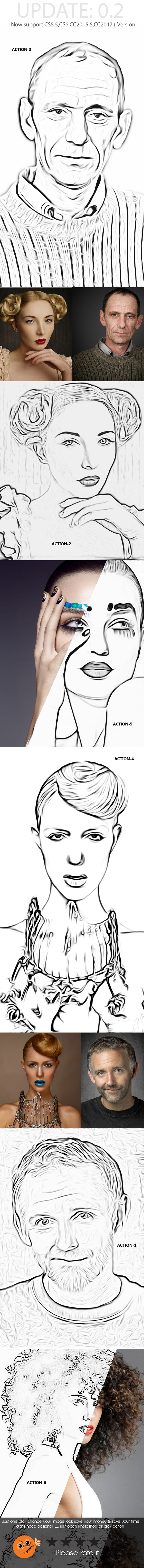 Photo Outline Action - Photo Effects Actions