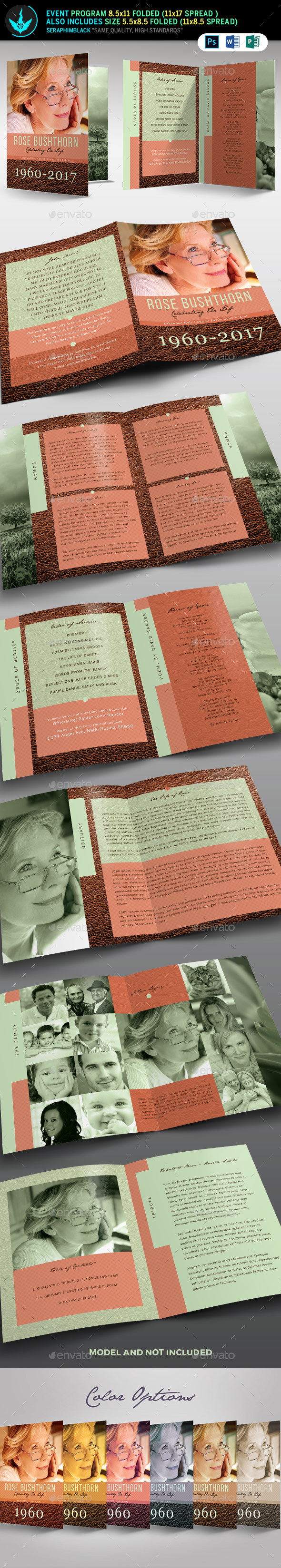 Leather Funeral Program Template 3 - Informational Brochures