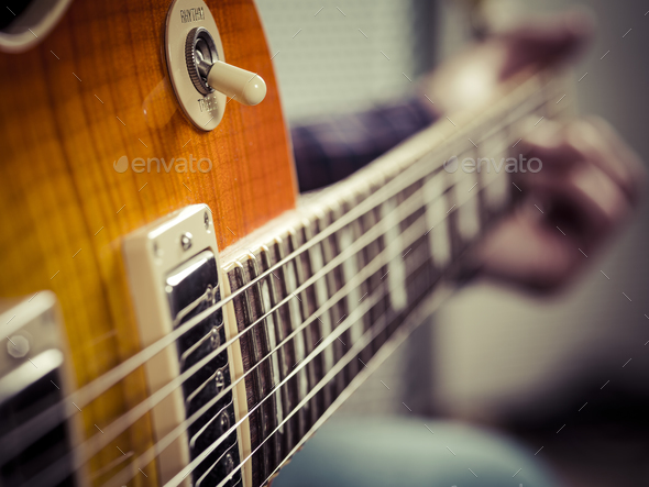 Closeup Of Guitarist Playing Electric Guitar Stock Photo By Sumners