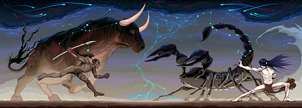 Zodiacal Battle Between Taurus and Scorpio - Conceptual Vectors