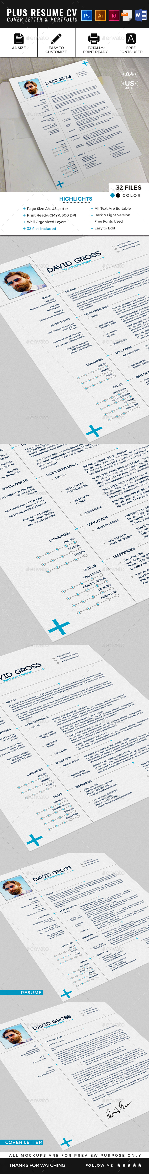 Plus Resume CV Template - Resumes Stationery
