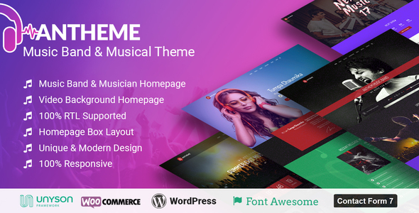 Anthem - Music Band Artist & Musical Event WordPress Theme - Music and Bands Entertainment