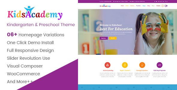 KidsAcademy - Kids, Kindergarten & Preschool WordPress Theme - Children Retail