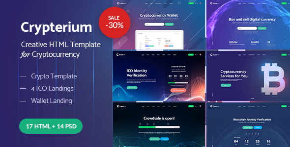 Crypterium - Cryptocurrency & ICO Landing Pages HTML Pack
