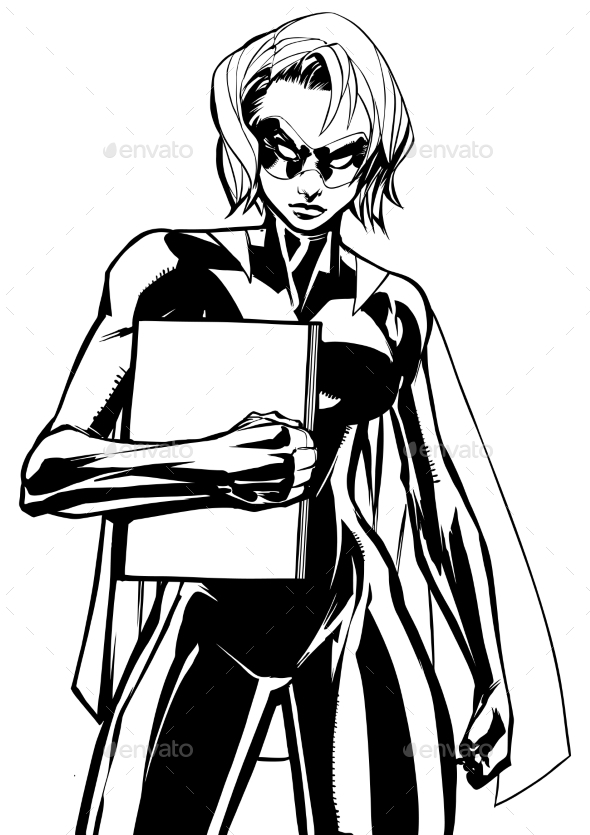 Superheroine Holding Book Line Art - People Characters