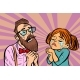 Hipster Couple Man and Woman Crying and Praying - GraphicRiver Item for Sale