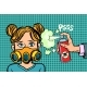 Woman in a Gas Mask, Sprayed Poison - GraphicRiver Item for Sale