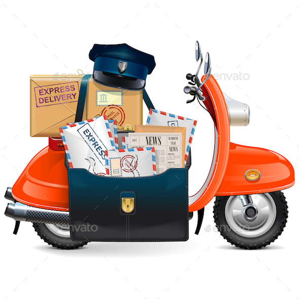 Vector Postal Scooter - Industries Business