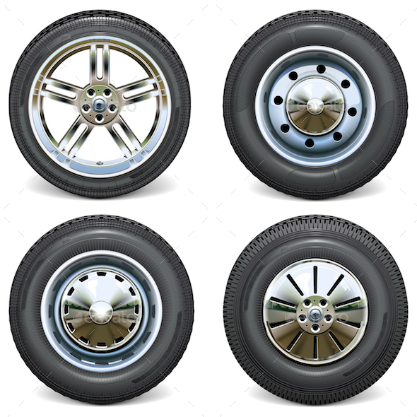 Vector Retro and Modern Car Wheels Side View - Industries Business