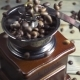 Pouring Coffee Beans Into Wooden Vintage Grinder, - VideoHive Item for Sale