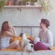 Affectionate Couple and Their French Bulldog Enjoy Spending Weekends Together Rest Concept. Pop Corn - VideoHive Item for Sale