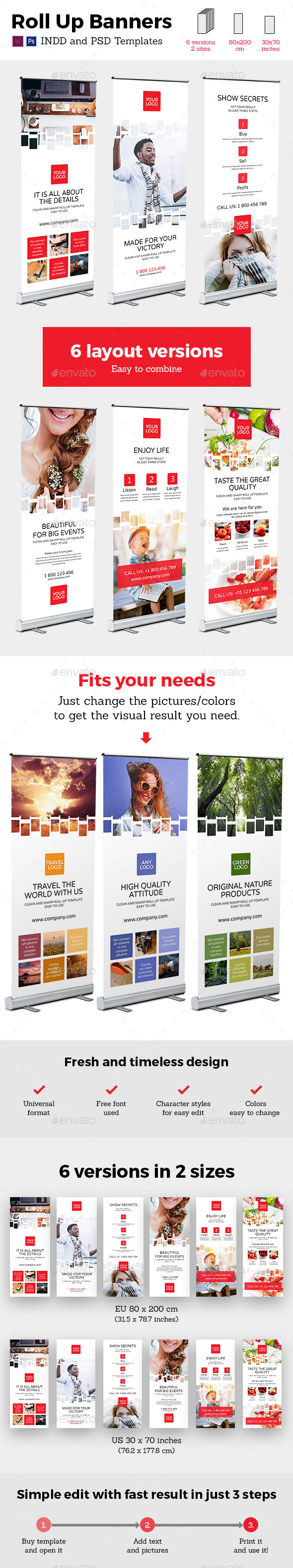 Rollup Stand Banner Display Digital Style 12x InDesign and Photoshop Template - Signage Print Templates