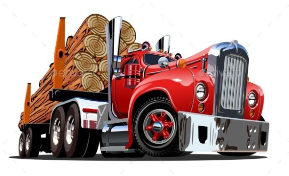 Cartoon Retro Logging Truck - Man-made Objects Objects
