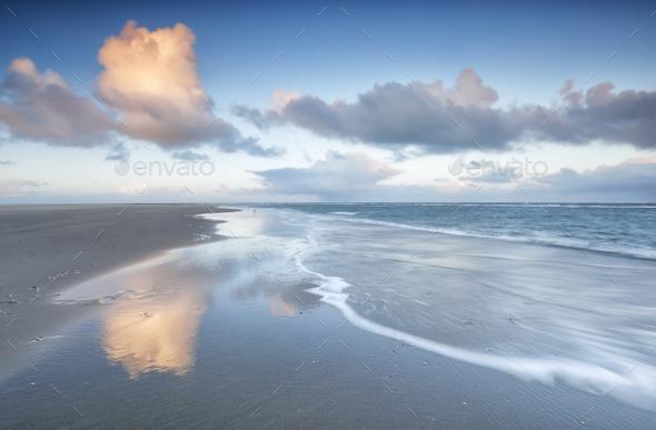 North sea coast at sunrise - Stock Photo - Images