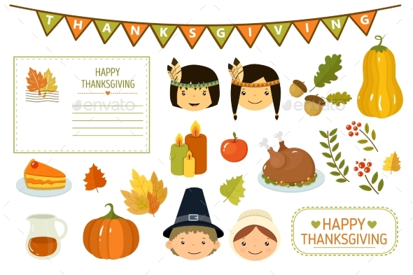 Happy Thanksgiving Card, Elements of Thanksgiving - Seasons/Holidays Conceptual