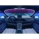 Futuristic Car Salon with GPS Autopilot Vehicle