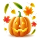 Vector Halloween Pumpkin Autumn Leaves