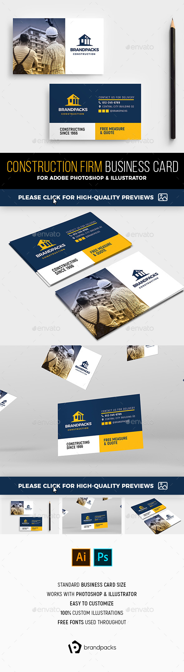 Construction Business Card Template - Industry Specific Business Cards