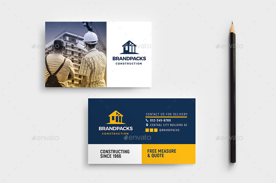 Construction Business Card Template by BrandPacks | GraphicRiver