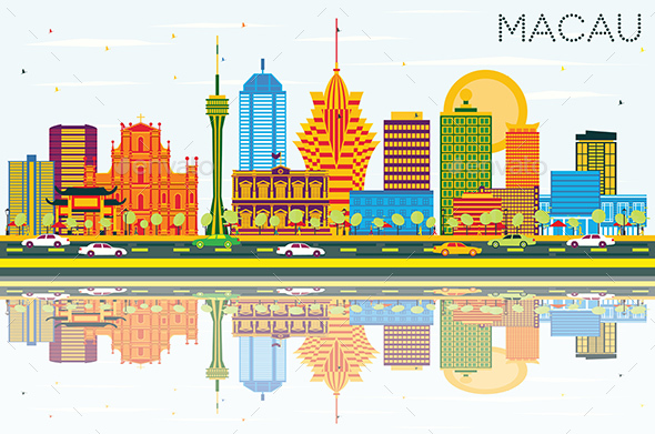 Macau China City Skyline with Color Buildings, Blue Sky and Reflections - Buildings Objects