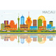 Macau China City Skyline with Color Buildings, Blue Sky and Reflections - GraphicRiver Item for Sale