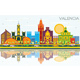 Valencia Spain City Skyline with Color Buildings, Blue Sky and Reflections. - GraphicRiver Item for Sale