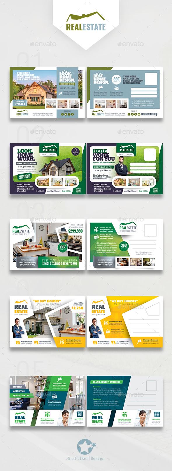 Real Estate Bundle Postcard Templates - Cards & Invites Print Templates