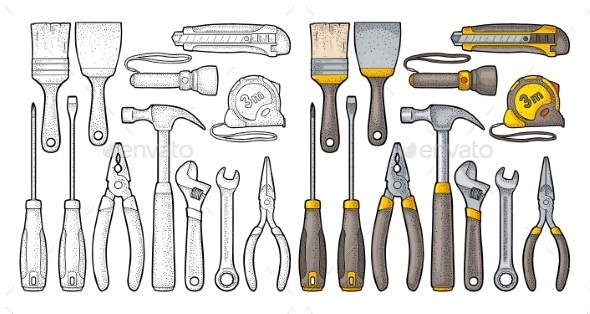 Set Hardware Tools. Vector Engraving - Objects Vectors