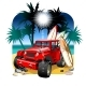 Vector Cartoon 4X4 Car on Beach - GraphicRiver Item for Sale