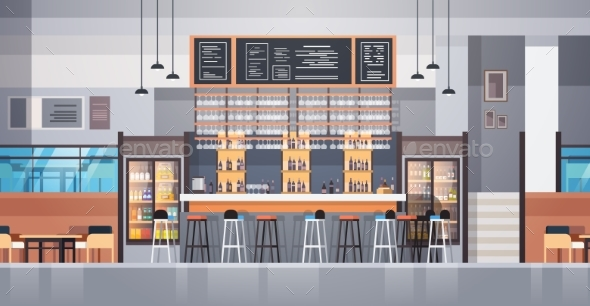 Modern Cafe Or Restaurant Interior With Bar - Objects Vectors