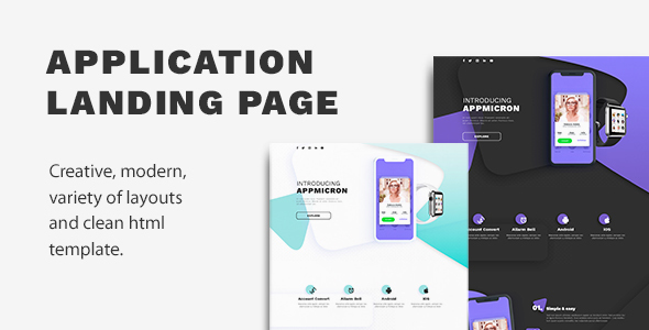 Image of APPMICRON - HTML Application Landing Page