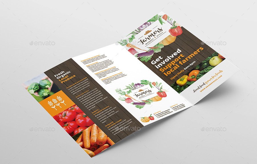 Farmers Market Tri Fold Brochure Template By Brandpacks Graphicriver