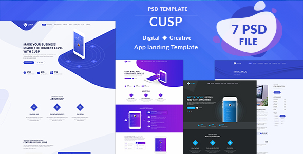 Cusp - App Landing Page PSD - Technology PSD Templates