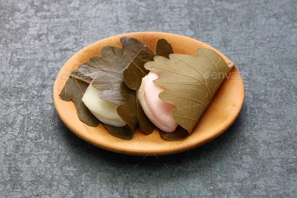 kashiwa mochi, japanese traditional sweet - Stock Photo - Images