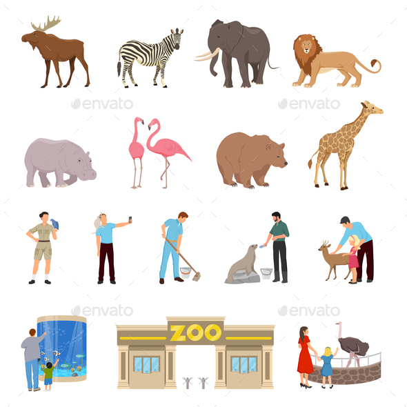 Zoo Flat Icons Set - Animals Characters