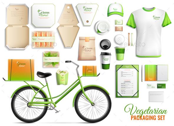 Vegetarian Food Packaging Set - Food Objects