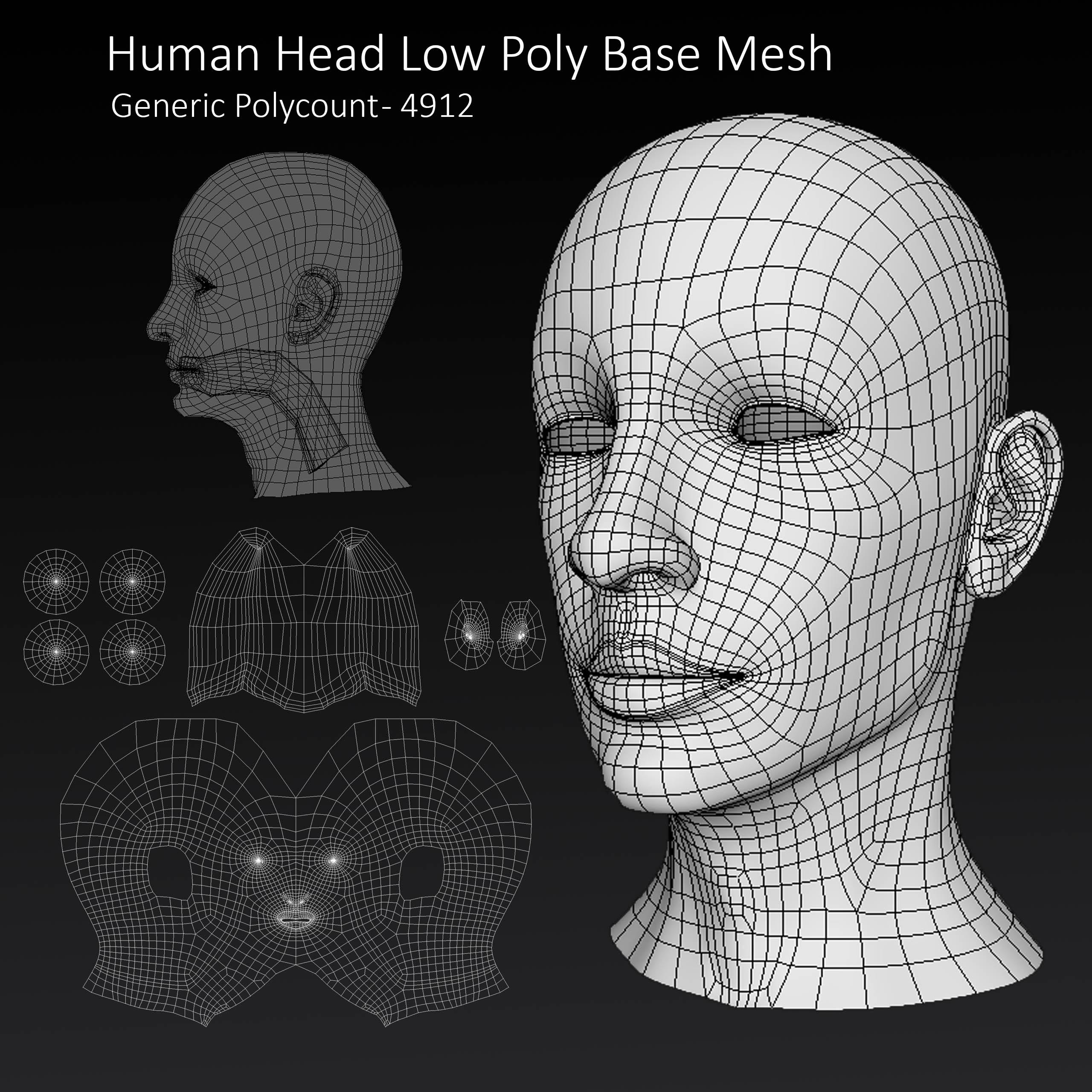 Human Male Head Low Poly Base Mesh