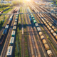 Aerial view of colorful freight trains on railroad - PhotoDune Item for Sale