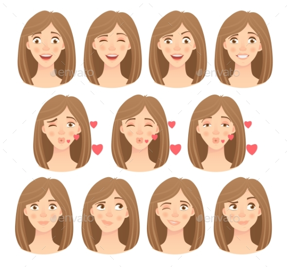 Emotions of Womans Face Set - People Characters