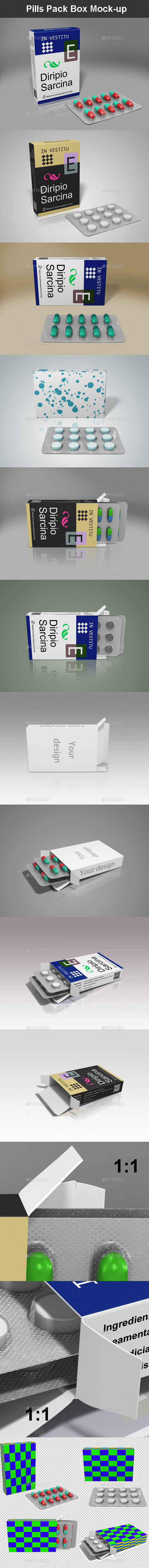 Pills Pack Box Mock-up - Packaging Product Mock-Ups