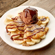 Crepes with banana and chocolat icecream on wooden desk - PhotoDune Item for Sale