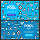 Pool and Water Signs Banner  Set. Vector