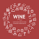 Wine Drink Signs Round Design Template Line Icon Concept. Vector