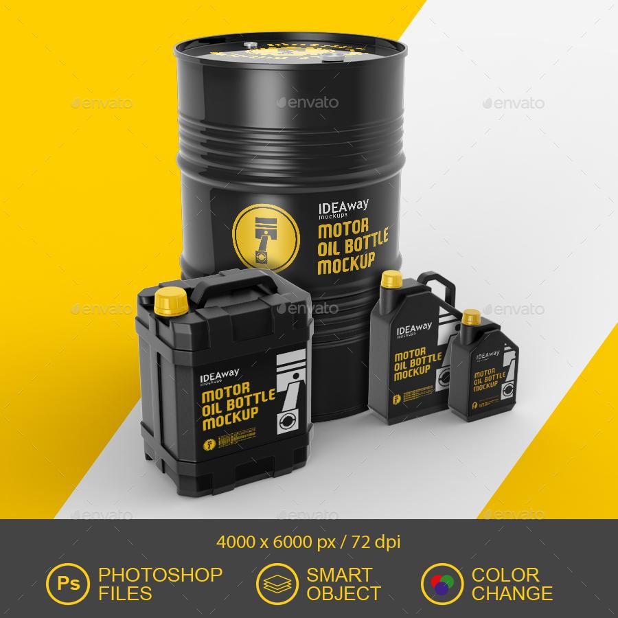 Motor Oil Set Mockup